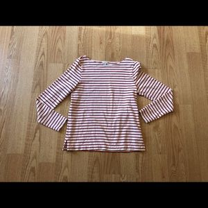 J. Crew blouse striped red and white long sleeve M